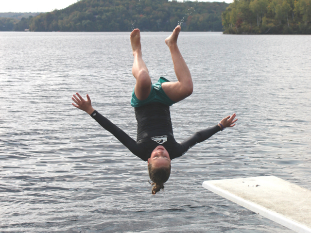 Tawingo College students swim in Lake Vernon for phys. ed.